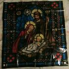 Vtg Christmas 1962 Nativity Scene Stain Glass Window Treatment Mary Joseph Baby