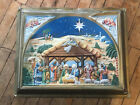 Vintage Light Up Nativity Scene Wall Hanging Stand Up Plastic