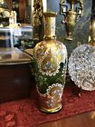 Antique Green Glass with Gilt Moser Hand Painted Vase Bohemian