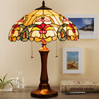 Tiffany Style Victorian 2 Light Table Lamp w 16 Stained Glass Shade Bedroom