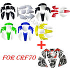 7pcs Plastics Kit Fairing Fender Kit + Stickers F Honda CRF70 CRF 70 CRF70F SSR