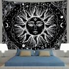 Psychedelic Tapestry Sun and Moon Fractal Faces Hippie Black  White 512X591