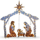 72 Outdoor Christmas Crystal Nativity Scene Holiday Decoration 250 Clear Lights