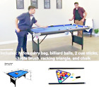 Portable Folding Table 6 Billiard Pool Set Balls Cues Chalk Basement Gamecorner