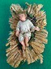Early Antique Nativity Wax Baby Jesus Christ on Straw French or German 19th C