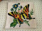 VTG COMPLETED GLASS SEED BEADED BUTTERFLY  FLOWER FINISHED NEEDLEPOINT TAPESTRY