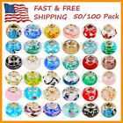 Mix Silver Plate Murano Lampwork European Glass Crystal Charm Beads Spacers