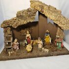 Vintage Christmas Nativity Scene Wooden Stable Manger Creche Italy 11X14 Fixed