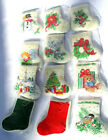 Vtg Needlepoint Christmas Ornament Never Used Red or Green  3 1/4 x 2 3/4 #D9