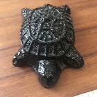 Pressed Glass Deep Purple Turtle Figurine Paperweight abt 475