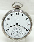 1927 Elgin 12 Size 15 Jewels Extra Fancy White Gold Plated Case Serviced