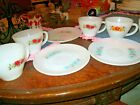 8 Anchor Hocking Fire King WARE Coffee Tea Cups Saucers ASSORTED FLOWER DESIGNS