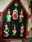 Mikasa 7pc Glass Ornaments Holy Nativity W North Star  Wooden Crate