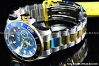 Invicta Mens 50mm Pro Diver Chronograph Two Tone Blue Dial Stainless Steel Watch