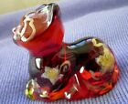 Fenton Cat Red Ruby Perky Figurine Christmas Golden Star Amberina Gift Shop