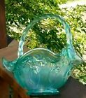 Fenton AQUAMARINE IRIDESCENT LILY OF THE VALLEY 8 Basket 1999
