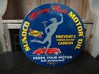 1937 SUNOCO MERCURY MADE MOTOR OIL PORCELAIN GAS STATION PUMP SIGN