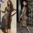 Women Leopard Print Midi Dres Sexy Ladies Long Sleeve Party Bodycon Pencil Dress