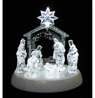 LED Holy Family Christmas Nativity Scene 75 Tabletop Clear Crystal Figurine