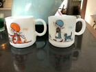 Lot (3) Holly Hobbie Daisy Milk Glass Mugs, Kirby Martin, Blue, Orange