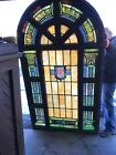 MARCAN 7 Av Antique Painting And Fired Stained Glass Arch Window 50 X 86 X8