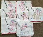 Vtg lot Of 7 Days Of The Week Hand Embroidered flour sack dish Towels poodle