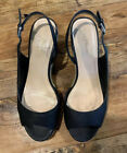 Cole Haan NikeAir Black Leather Slingback Espadrilles Wedge Peep Toe Size 7.5