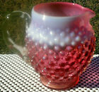 Fenton Cranberry Opalescent Hobnail Pitcher with Clear Handle 5H x 5W Mint
