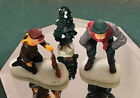 Vintage Lemax Christmas Village Figure Figurines (3)Snow People Camp Fire Tree