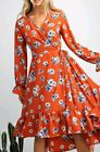 Easel Anthropologie Midi Floral Long Sleeve Dress Fall Rust Red L Large