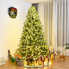 8Ft Pre Lit Dense PVC Christmas Tree Spruce Hinged with 880 LED Lights