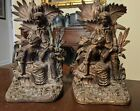 Pair Antique American Cast Iron Bookends Girandole Style Man  Woman 19th