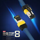 15m 45ft CAT8 SSTP Ethernet Cable 40Gbps Gigabit LAN Patch Cord 24AWG Audio FTP