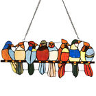 225 Stained Glass Birds Window Panel Tiffany Style Hanging Sun Catcher w Chain