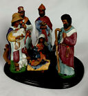 Vintage 7 10 Piece Christmas Ceramic Nativity Manger Scene Large Painted