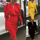 Womens Long Sleeve V Neck Bodycon Dress Ladies Evening Party Cocktail Mini Dress