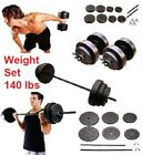 Weight Sets 140lbs Barbell Dumbells Fitness Equipment Build Muscle Home Training