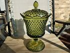 Fenton Glass Hobnail Colonial Green Rare Footed Urn Covered Bowl