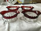 4 Ruby Thumbprint Pressed Star Pointed Berry Bowl Boat