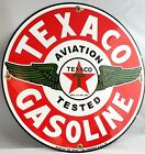VINTAGE ORIGINAL TEXACO GASOLINE PORCELAIN AVIATION SERVICE STATION PUMP SIGN