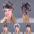 Womens Warm Faux Rex Rabbit Fur Hats Pompom Winter Knitted Beanies Casual Caps