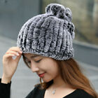 Real Rex rabbit Hat Scarves Hand Knitted Ladies elegant Beanies Hats Fur Cap