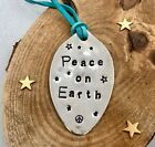 PEACE on EARTH Ornament, Recycled Spoon Stamped with Teal Leather