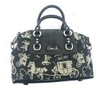 Coach Purse Ashley Horse  Carriage Black Satchel Shoulder Hand Bag K1094 F15540
