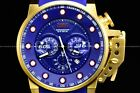 New Invicta Men's 50mm I-Force 18k Gold Case Blue Bomber Chrono Silicone Watch