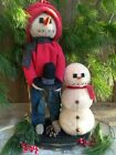 NEW Primitive Country Christmas Handcrafted Beautiful Folk Art Snowman Friends