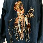 Womens Denim Long Sleeve Shirt L Native American Chief Horse Beaded Embroidered