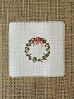 Completed Cross Stitch Christmas Red Ivy Wreath Small Piece for DIY Crafts