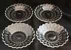 ANTIQUE ATTRIBUTED TO BACCARAT SET 4 CUT GLASS CRYSTAL DESSERT SAUCER PLATES