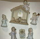 Vintage Collectible Heavenly Kingdom Enesco Nativity Set 1996 Shimmer Stone